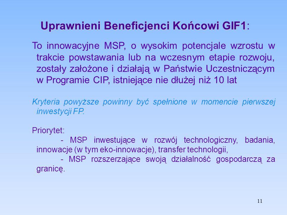 Uprawnieni Beneficjenci Końcowi GIF1 Uprawnieni Beneficjenci Końcowi GIF1: To innowacyjne MSP, o wysokim potencjale wzrostu w trakcie powstawania lub