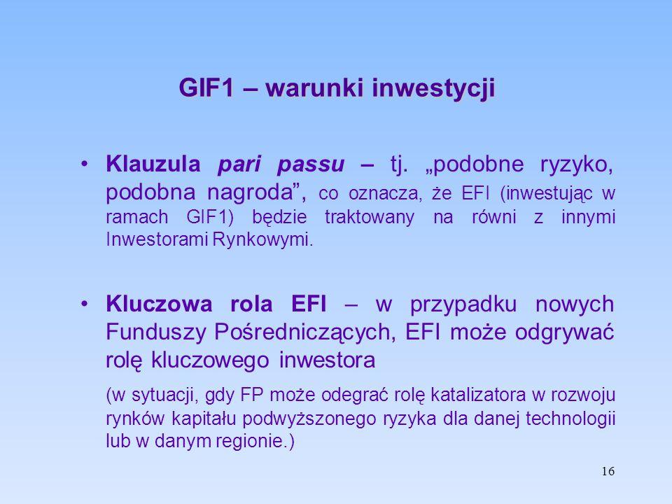 """GIF1 – warunki inwestycji Klauzula pari passu – tj. """"podobne ryzyko, podobna nagroda"""", co oznacza, że EFI (inwestując w ramach GIF1) będzie traktowany"""