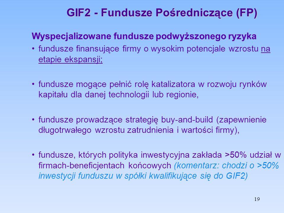 GIF2 - Fundusze Pośredniczące (FP) Wyspecjalizowane fundusze podwyższonego ryzyka fundusze finansujące firmy o wysokim potencjale wzrostu na etapie ek