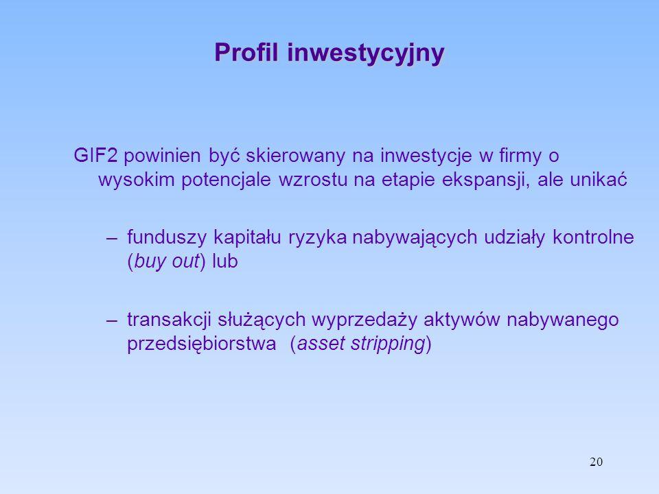 Profil inwestycyjny GIF2 powinien być skierowany na inwestycje w firmy o wysokim potencjale wzrostu na etapie ekspansji, ale unikać –funduszy kapitału