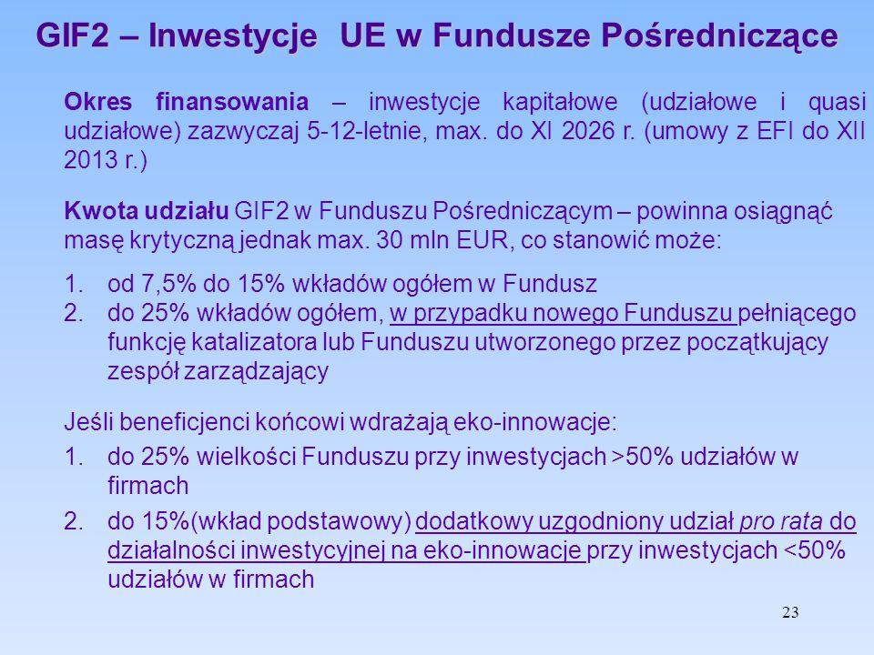 GIF2 – Inwestycje UE w Fundusze Pośredniczące Okres finansowania – inwestycje kapitałowe (udziałowe i quasi udziałowe) zazwyczaj 5-12-letnie, max. do
