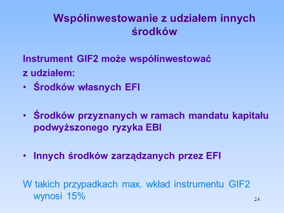 Współinwestowanie z udziałem innych środków Instrument GIF2 może współinwestować z udziałem: Środków własnych EFI Środków przyznanych w ramach mandatu