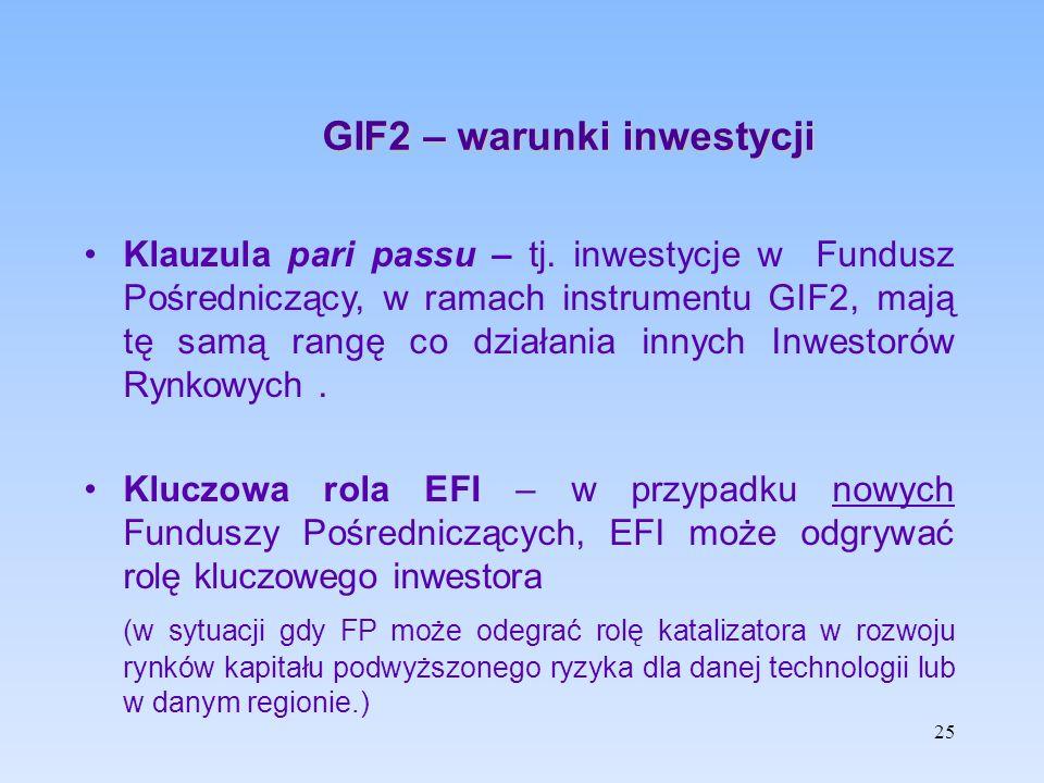 GIF2 – warunki inwestycji Klauzula pari passu – tj. inwestycje w Fundusz Pośredniczący, w ramach instrumentu GIF2, mają tę samą rangę co działania inn