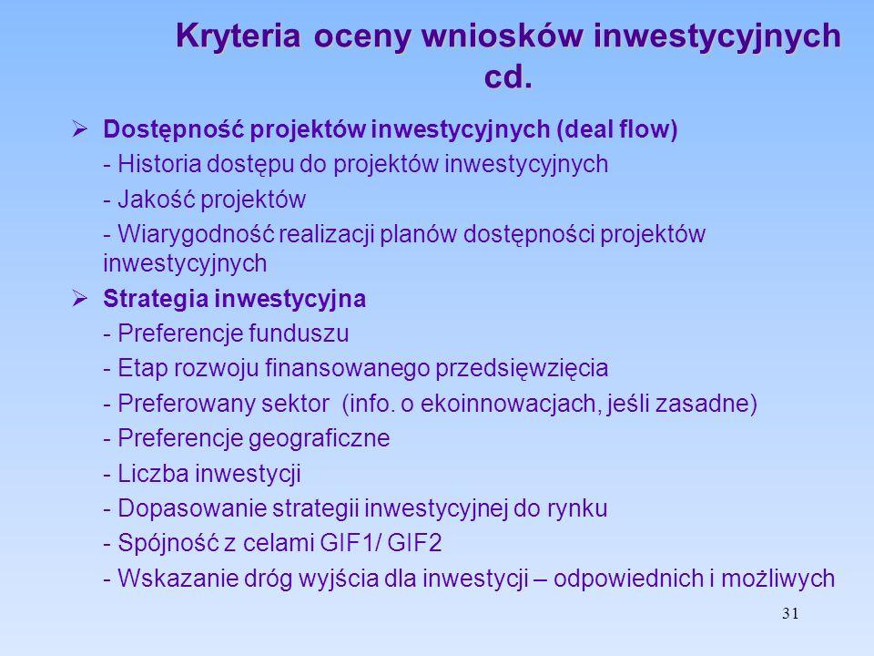 Kryteria oceny wniosków inwestycyjnych cd.  Dostępność projektów inwestycyjnych (deal flow) - Historia dostępu do projektów inwestycyjnych - Jakość p