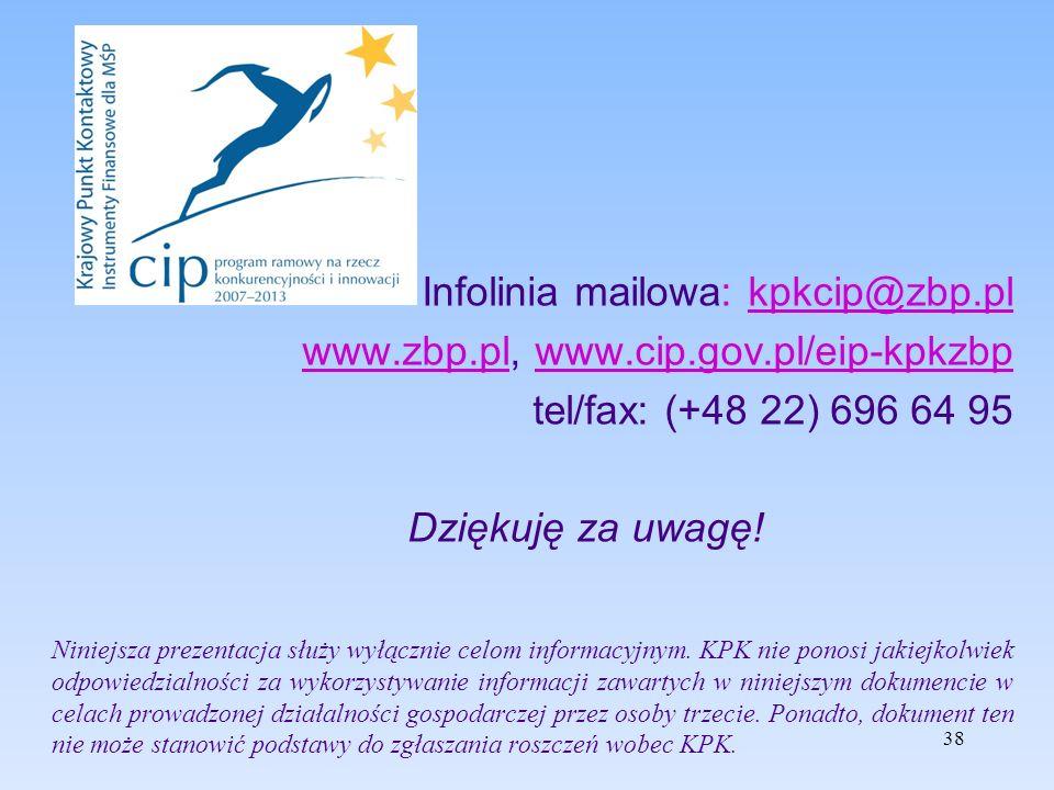 38 Infolinia mailowa: kpkcip@zbp.plkpkcip@zbp.pl www.zbp.plwww.zbp.pl, www.cip.gov.pl/eip-kpkzbpwww.cip.gov.pl/eip-kpkzbp tel/fax: (+48 22) 696 64 95