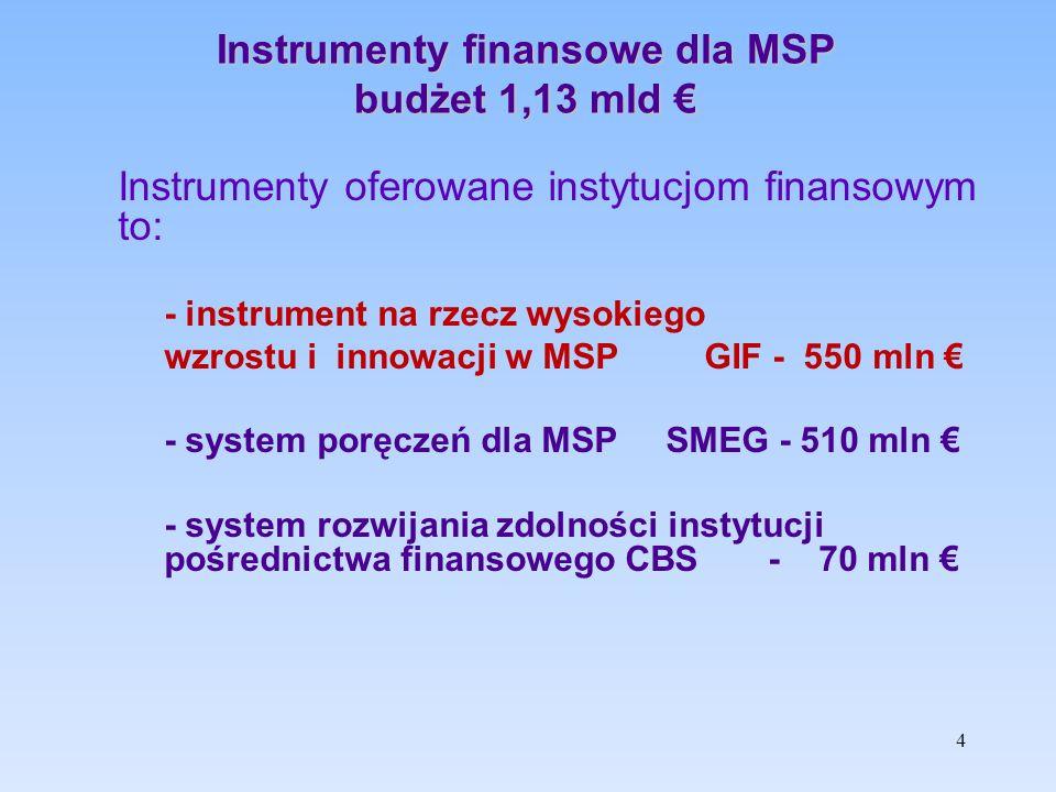4 Instrumenty finansowe dla MSP budżet 1,13 mld € Instrumenty oferowane instytucjom finansowym to: - instrument na rzecz wysokiego wzrostu i innowacji