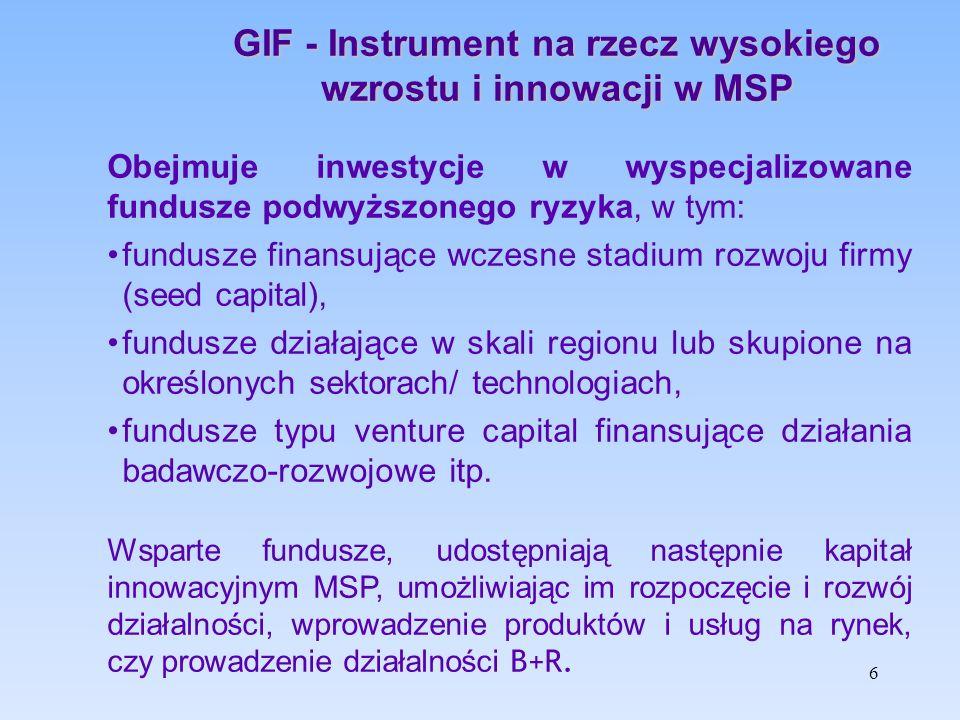 Warunki działania instrumentu GIF Instrument GIF może inwestować w Fundusze Pośredniczące (FP) współdziałając, o ile to możliwe, z krajowymi lub regionalnymi programami mającymi na celu tworzenie małych firm inwestycyjnych.