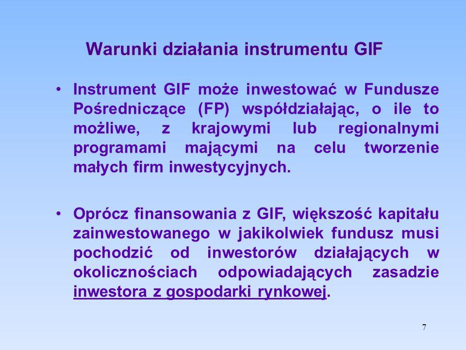 Cele instrumentu GIF wspieranie zakładania i finansowania MSP oraz zmniejszenie luki na rynku inwestycji udziałowych i kapitału podwyższonego ryzyka, ograniczającej potencjał wzrostu MSP wspieranie innowacyjnych MSP o wysokim potencjale wzrostu (szczególnie w obszarze badań, rozwoju i działalności innowacyjnej) 8
