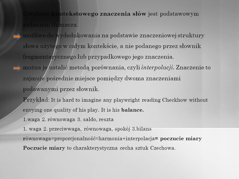 Ustalenie kontekstowego znaczenia słów jest podstawowym zadaniem tłumacza. możliwe do wydedukowania na podstawie znaczeniowej struktury słowa użytego