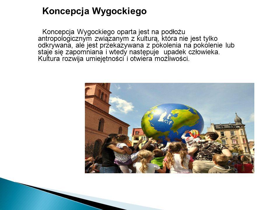 Koncepcja Wygockiego Koncepcja Wygockiego oparta jest na podłożu antropologicznym związanym z kulturą, która nie jest tylko odkrywana, ale jest przekazywana z pokolenia na pokolenie lub staje się zapomniana i wtedy następuje upadek człowieka.