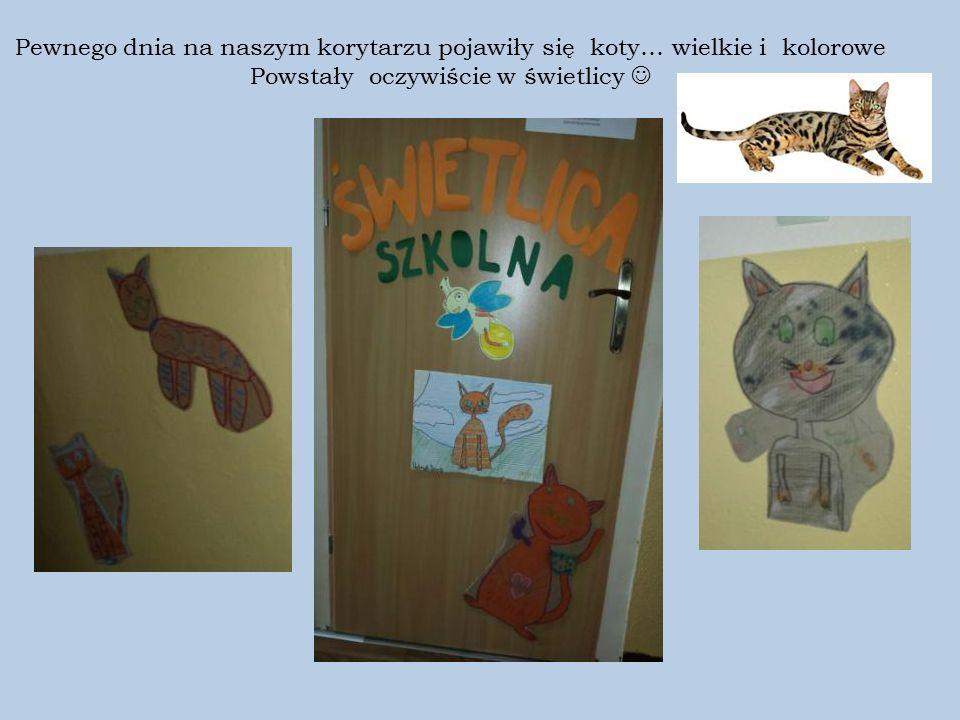 Pewnego dnia na naszym korytarzu pojawiły się koty… wielkie i kolorowe Powstały oczywiście w świetlicy