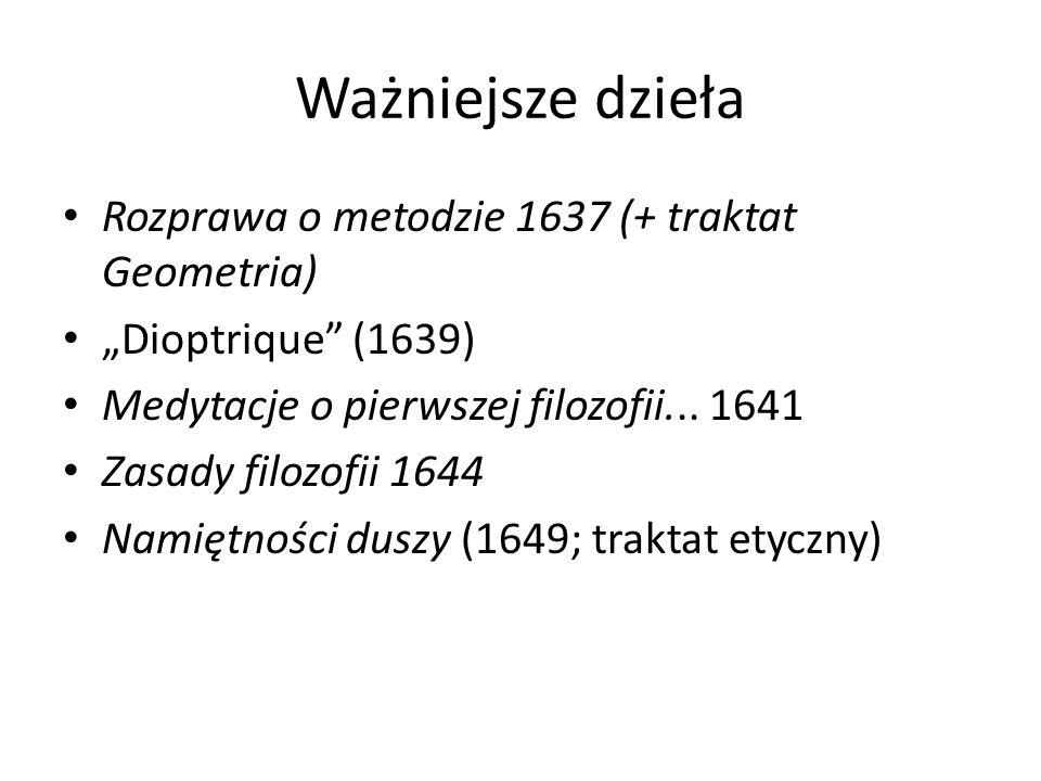 """Ważniejsze dzieła Rozprawa o metodzie 1637 (+ traktat Geometria) """"Dioptrique (1639) Medytacje o pierwszej filozofii..."""
