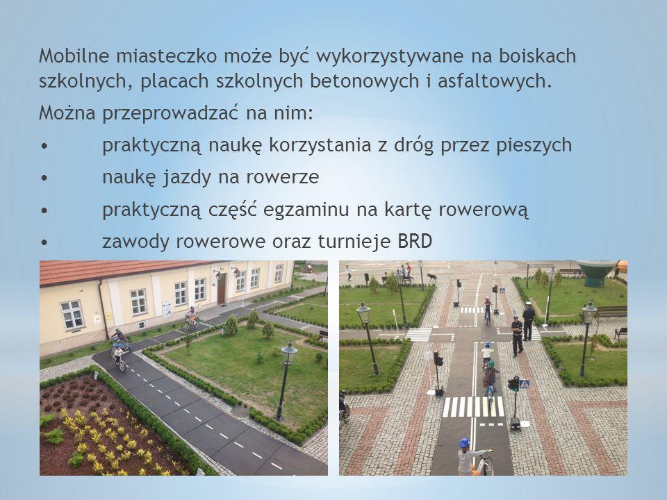Mobilne miasteczko może być wykorzystywane na boiskach szkolnych, placach szkolnych betonowych i asfaltowych.