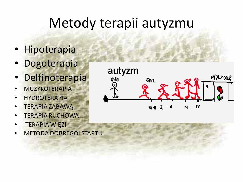 Metody terapii autyzmu Hipoterapia Dogoterapia Delfinoterapia MUZYKOTERAPIA HYDROTERAPIA TERAPIA ZABAWĄ TERAPIA RUCHOWA TERAPIA WIĘZI METODA DOBREGOI