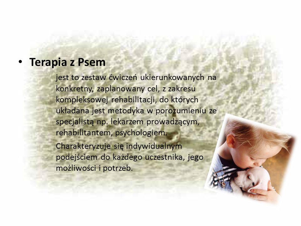 Terapia z Psem jest to zestaw ćwiczeń ukierunkowanych na konkretny, zaplanowany cel, z zakresu kompleksowej rehabilitacji, do których układana jest me