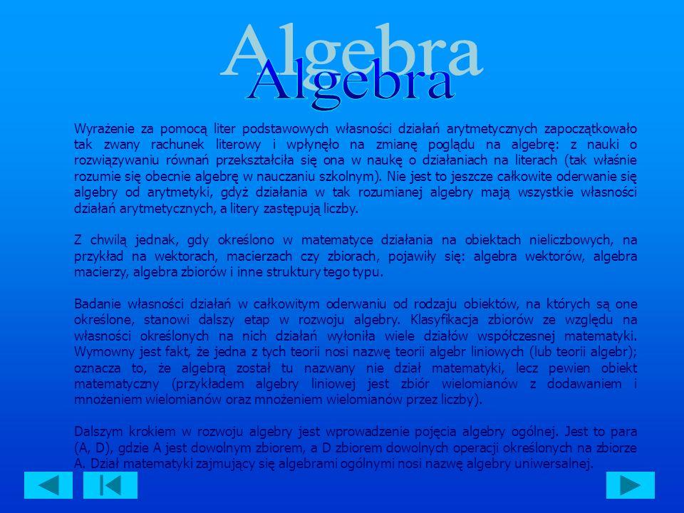 Algebra to jeden z najstarszych działów matematyki, który powstał w starożytności.