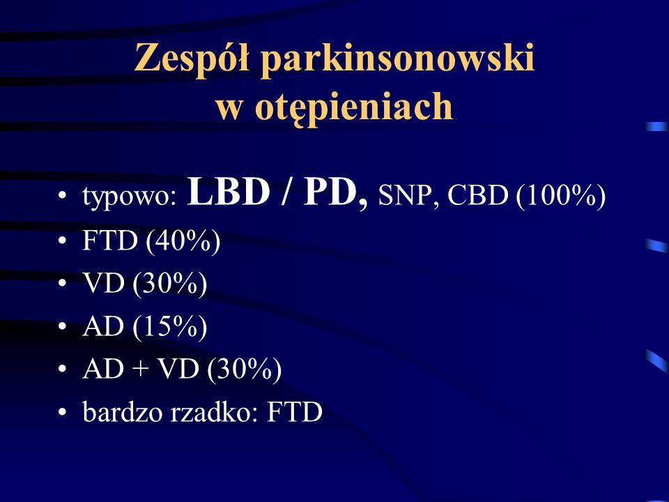 Zespół parkinsonowski w otępieniach typowo: LBD / PD, SNP, CBD (100%) FTD (40%) VD (30%) AD (15%) AD + VD (30%) bardzo rzadko: FTD