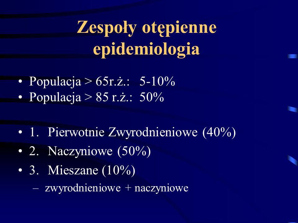Zespoły otępienne epidemiologia Populacja > 65r.ż.: 5-10% Populacja > 85 r.ż.: 50% 1.Pierwotnie Zwyrodnieniowe (40%) 2.Naczyniowe (50%) 3.Mieszane (10