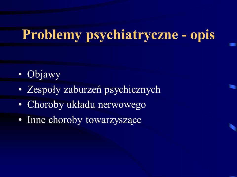 Problemy psychiatryczne w DPS Zaburzenia świadomości Zespoły otępienne Niepełnosprawność intelektualna Zespół uzależnienia od alkoholu Zespół uzależnienia od leków uspokajających / nasennych