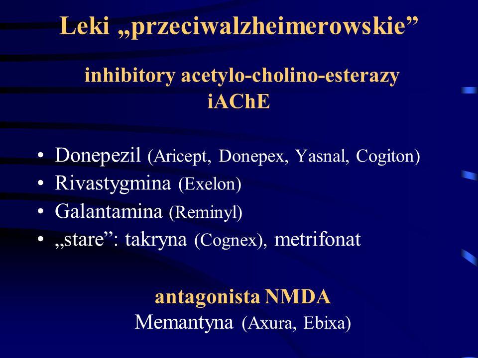 "Leki ""przeciwalzheimerowskie"" inhibitory acetylo-cholino-esterazy iAChE Donepezil (Aricept, Donepex, Yasnal, Cogiton) Rivastygmina (Exelon) Galantamin"