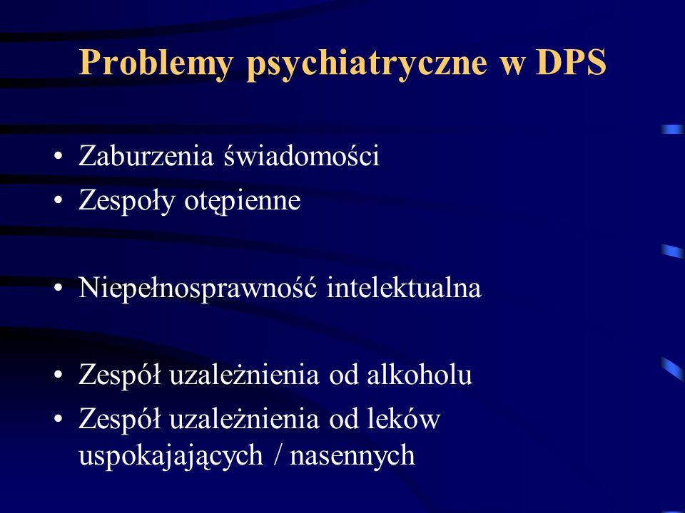 Problemy psychiatryczne w DPS Zaburzenia świadomości Zespoły otępienne Niepełnosprawność intelektualna Zespół uzależnienia od alkoholu Zespół uzależni