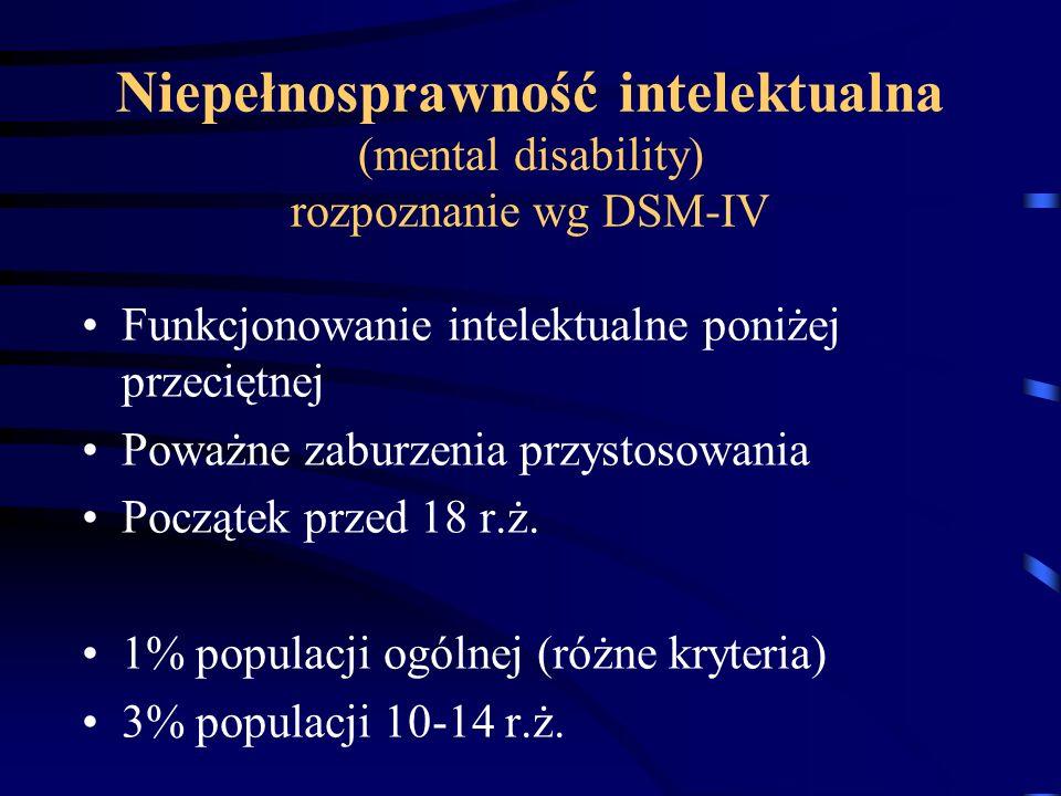 Niepełnosprawność intelektualna (mental disability) rozpoznanie wg DSM-IV Funkcjonowanie intelektualne poniżej przeciętnej Poważne zaburzenia przystos