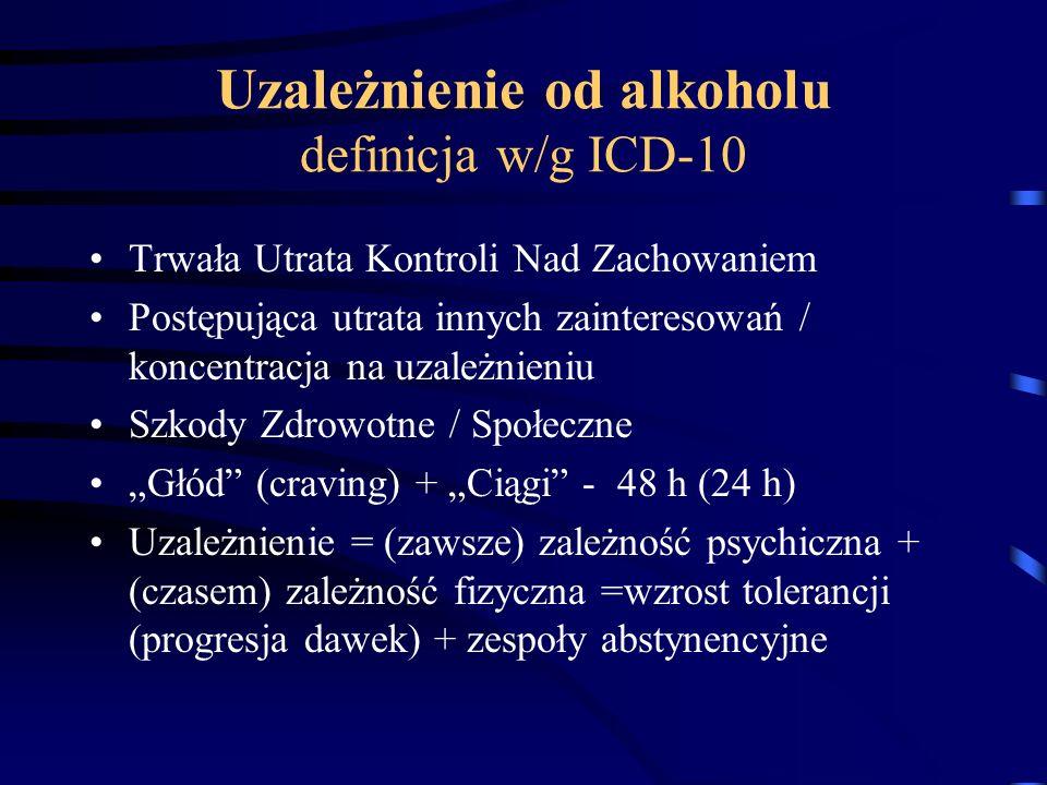 Uzależnienie od alkoholu definicja w/g ICD-10 Trwała Utrata Kontroli Nad Zachowaniem Postępująca utrata innych zainteresowań / koncentracja na uzależn