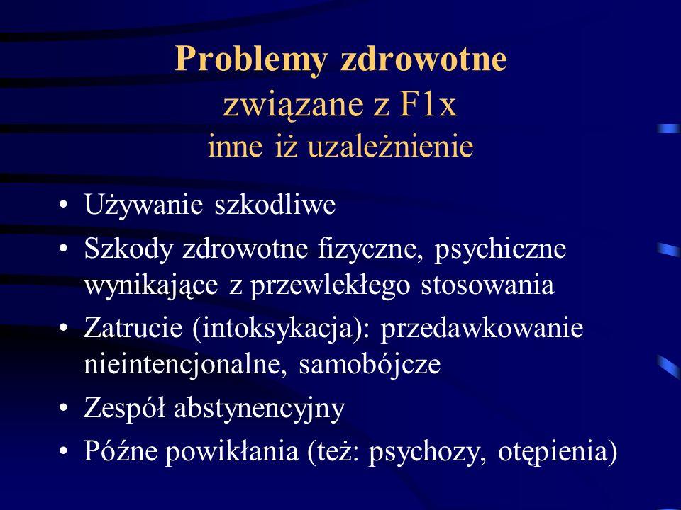 Problemy zdrowotne związane z F1x inne iż uzależnienie Używanie szkodliwe Szkody zdrowotne fizyczne, psychiczne wynikające z przewlekłego stosowania Z
