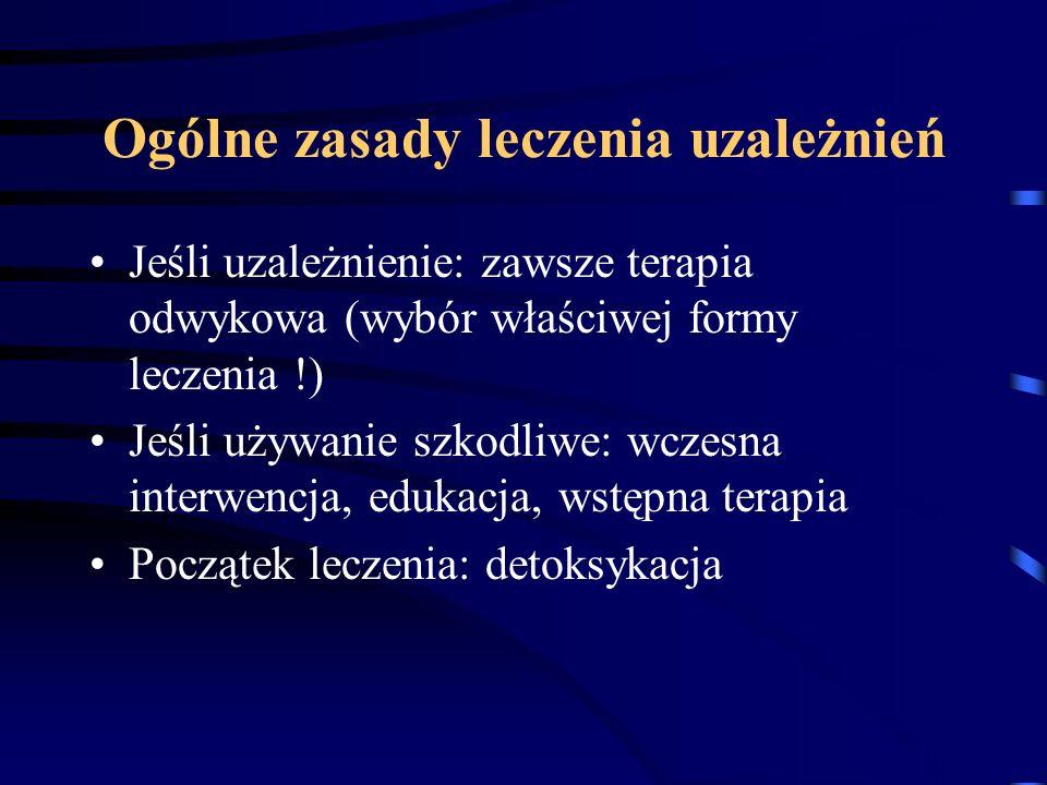 Ogólne zasady leczenia uzależnień Jeśli uzależnienie: zawsze terapia odwykowa (wybór właściwej formy leczenia !) Jeśli używanie szkodliwe: wczesna int