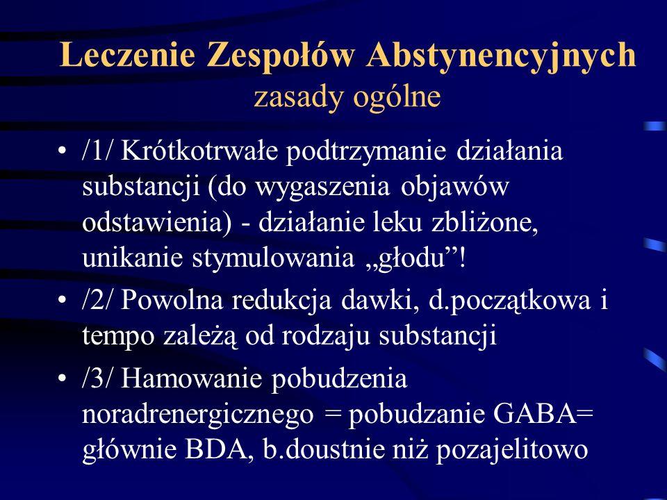 Leczenie Zespołów Abstynencyjnych zasady ogólne /1/ Krótkotrwałe podtrzymanie działania substancji (do wygaszenia objawów odstawienia) - działanie lek