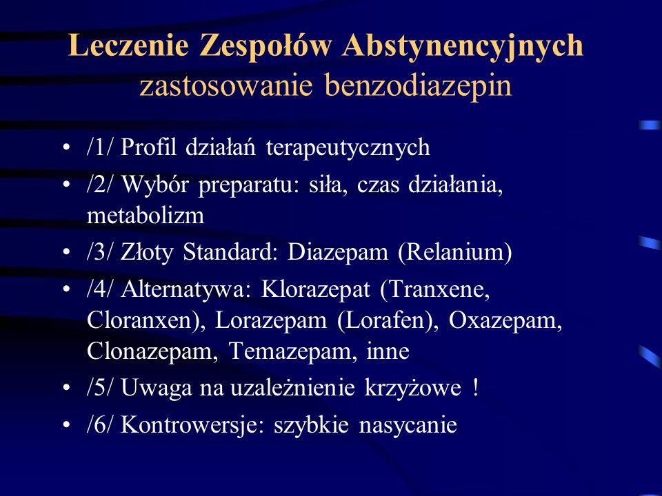 Leczenie Zespołów Abstynencyjnych zastosowanie benzodiazepin /1/ Profil działań terapeutycznych /2/ Wybór preparatu: siła, czas działania, metabolizm