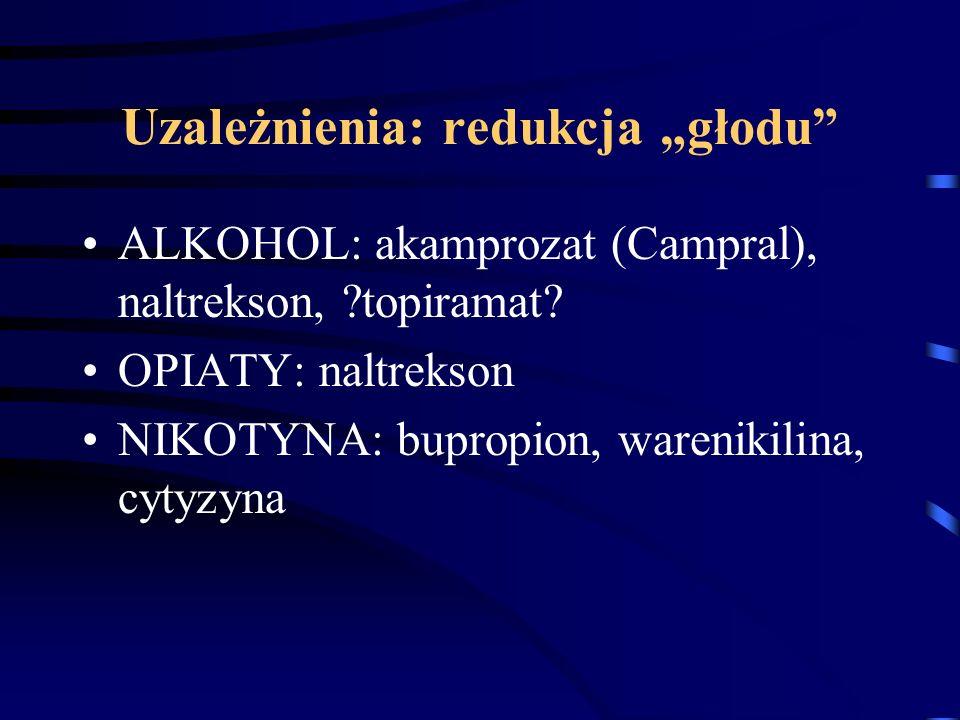 """Uzależnienia: redukcja """"głodu"""" ALKOHOL: akamprozat (Campral), naltrekson, ?topiramat? OPIATY: naltrekson NIKOTYNA: bupropion, warenikilina, cytyzyna"""