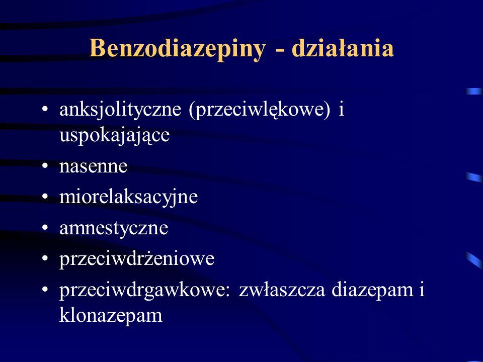 Benzodiazepiny - działania anksjolityczne (przeciwlękowe) i uspokajające nasenne miorelaksacyjne amnestyczne przeciwdrżeniowe przeciwdrgawkowe: zwłasz