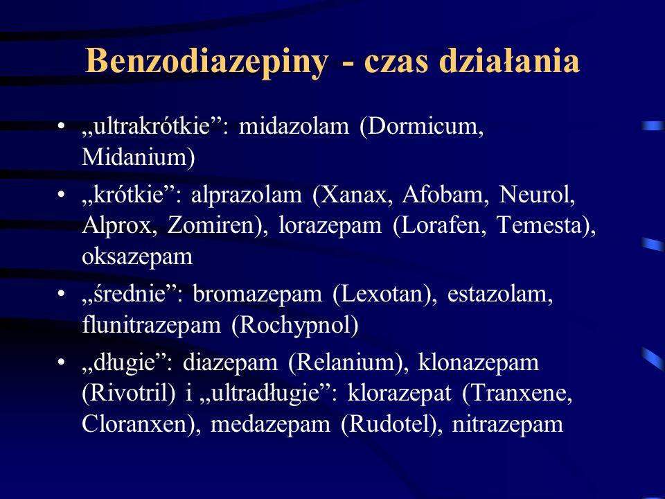 """Benzodiazepiny - czas działania """"ultrakrótkie"""": midazolam (Dormicum, Midanium) """"krótkie"""": alprazolam (Xanax, Afobam, Neurol, Alprox, Zomiren), lorazep"""