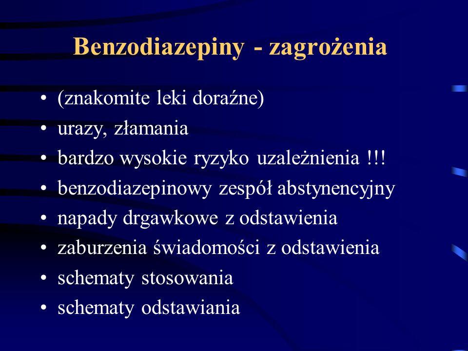 Benzodiazepiny - zagrożenia (znakomite leki doraźne) urazy, złamania bardzo wysokie ryzyko uzależnienia !!! benzodiazepinowy zespół abstynencyjny napa