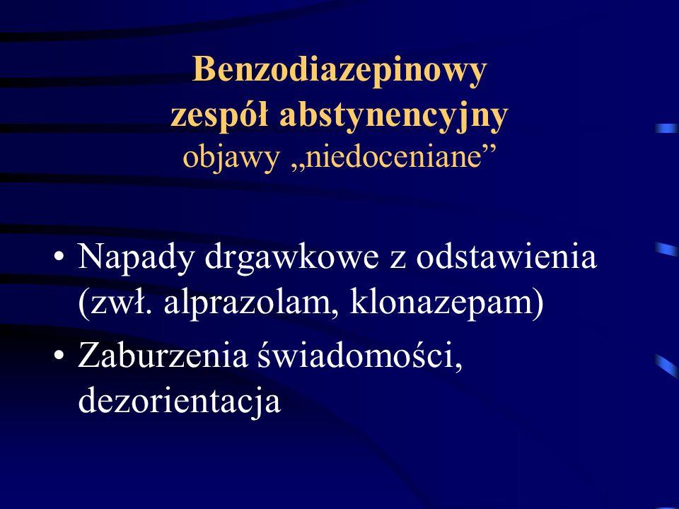 """Benzodiazepinowy zespół abstynencyjny objawy """"niedoceniane"""" Napady drgawkowe z odstawienia (zwł. alprazolam, klonazepam) Zaburzenia świadomości, dezor"""