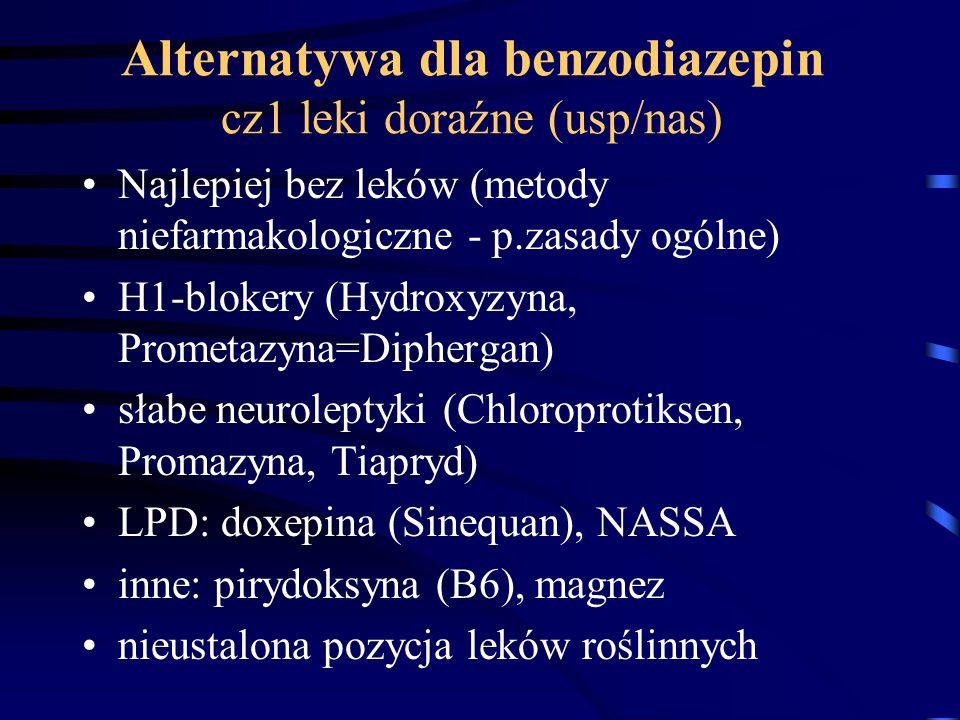 Alternatywa dla benzodiazepin cz1 leki doraźne (usp/nas) Najlepiej bez leków (metody niefarmakologiczne - p.zasady ogólne) H1-blokery (Hydroxyzyna, Pr