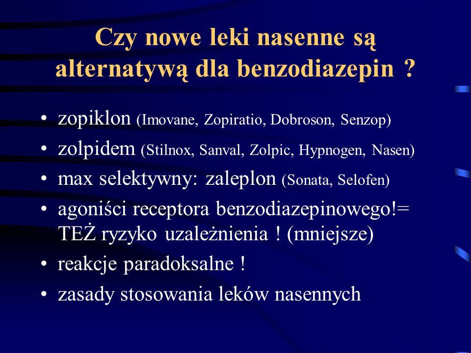 Czy nowe leki nasenne są alternatywą dla benzodiazepin ? zopiklon (Imovane, Zopiratio, Dobroson, Senzop) zolpidem (Stilnox, Sanval, Zolpic, Hypnogen,