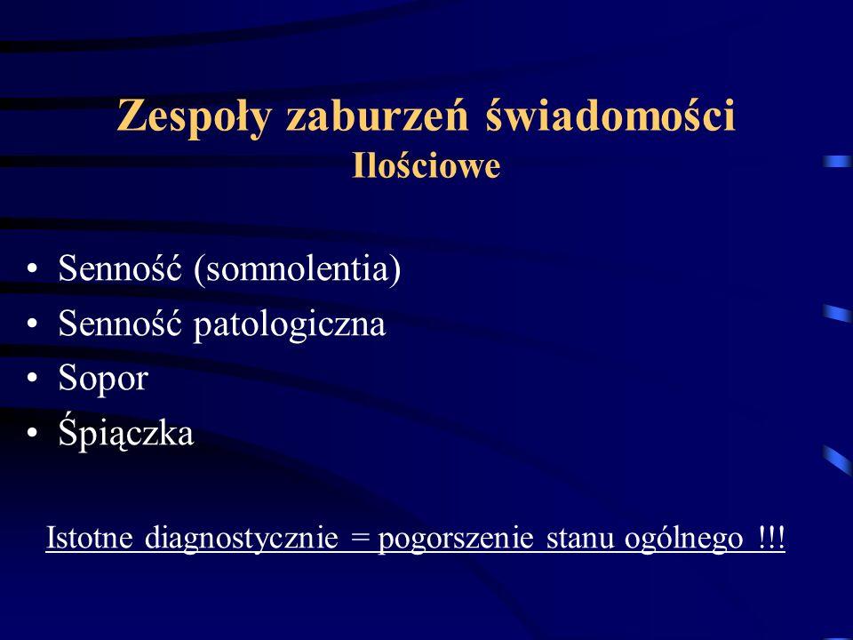 Zespoły zaburzeń świadomości Ilościowe Senność (somnolentia) Senność patologiczna Sopor Śpiączka Istotne diagnostycznie = pogorszenie stanu ogólnego !