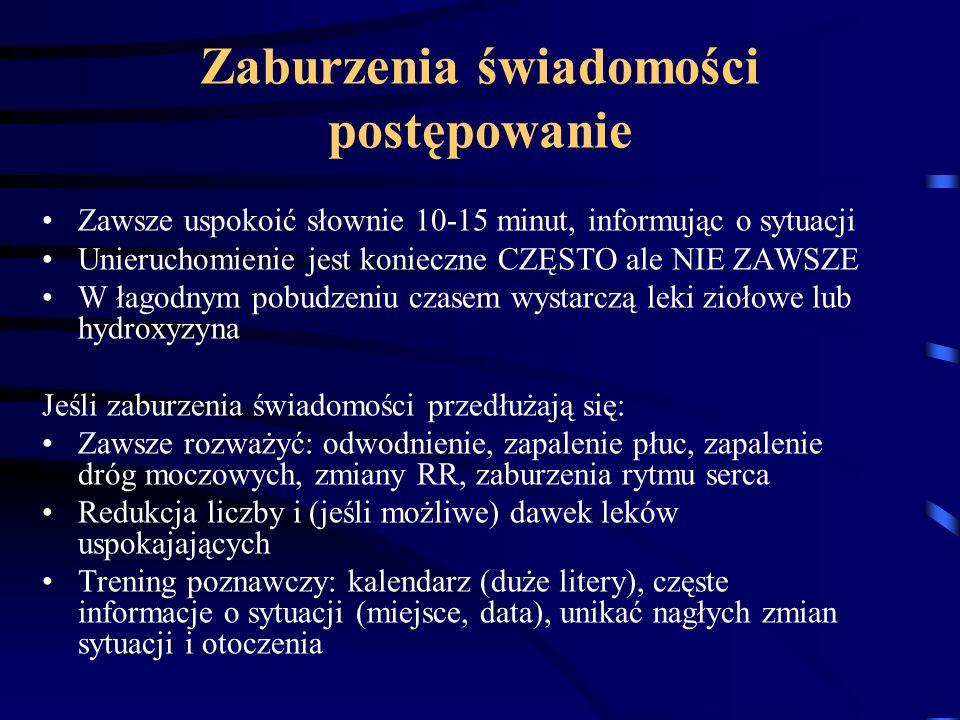 "Leki ""przeciwalzheimerowskie inhibitory acetylo-cholino-esterazy iAChE Donepezil (Aricept, Donepex, Yasnal, Cogiton) Rivastygmina (Exelon) Galantamina (Reminyl) ""stare : takryna (Cognex), metrifonat antagonista NMDA Memantyna (Axura, Ebixa)"
