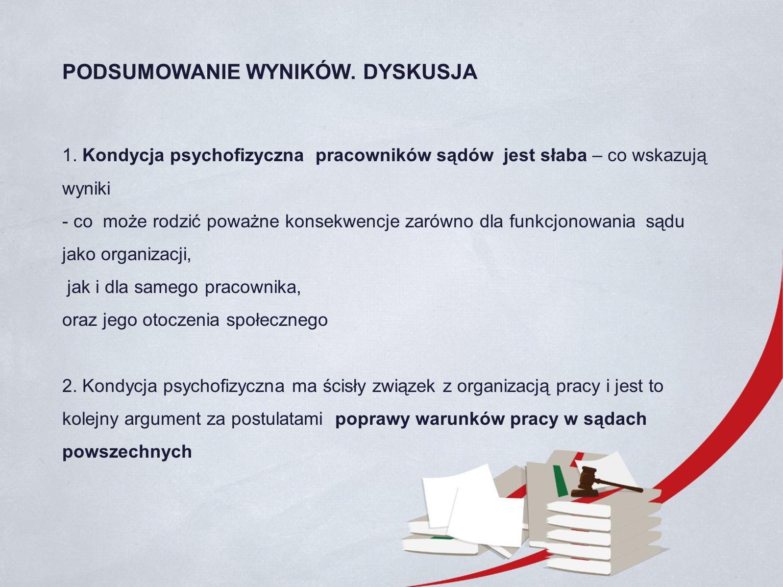 1. Kondycja psychofizyczna pracowników sądów jest słaba – co wskazują wyniki - co może rodzić poważne konsekwencje zarówno dla funkcjonowania sądu jak