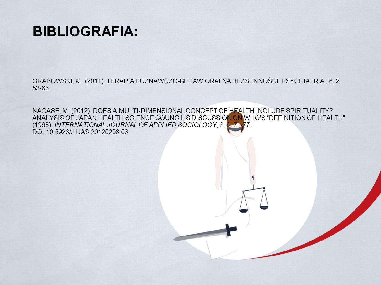 BIBLIOGRAFIA: GRABOWSKI, K. (2011). TERAPIA POZNAWCZO-BEHAWIORALNA BEZSENNOŚCI.
