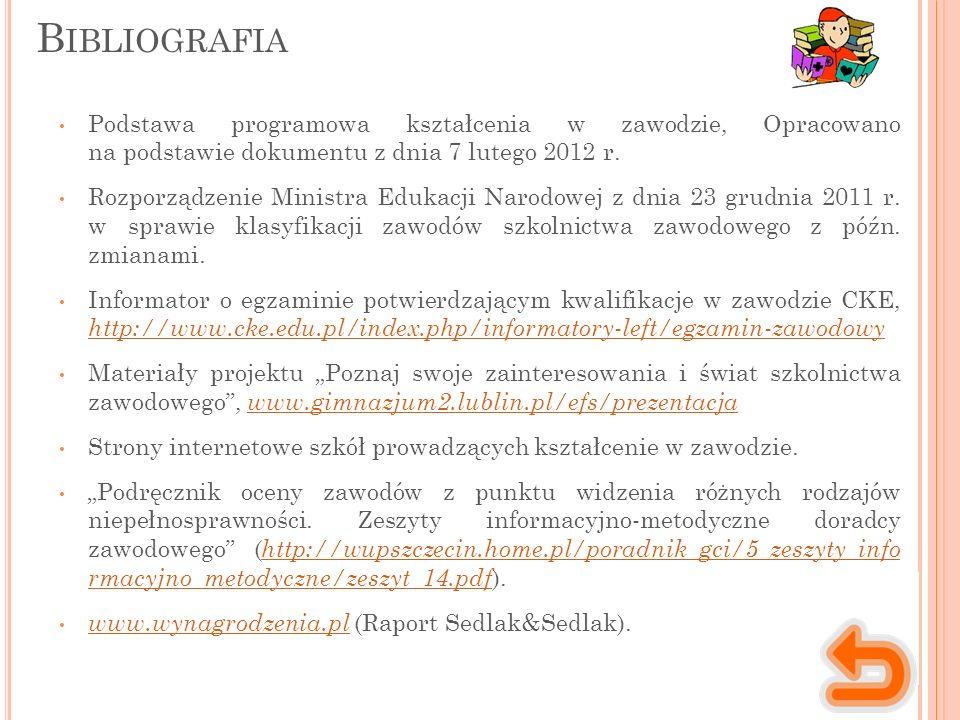 Podstawa programowa kształcenia w zawodzie, Opracowano na podstawie dokumentu z dnia 7 lutego 2012 r.