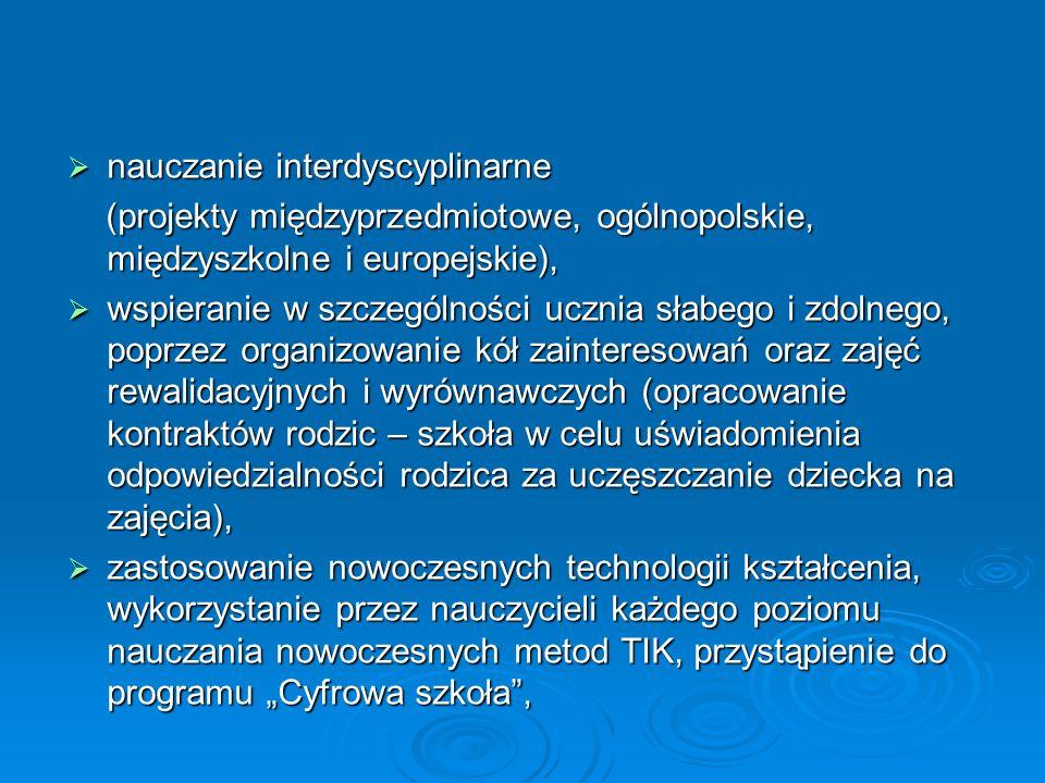 """ nauczanie interdyscyplinarne (projekty międzyprzedmiotowe, ogólnopolskie, międzyszkolne i europejskie), (projekty międzyprzedmiotowe, ogólnopolskie, międzyszkolne i europejskie),  wspieranie w szczególności ucznia słabego i zdolnego, poprzez organizowanie kół zainteresowań oraz zajęć rewalidacyjnych i wyrównawczych (opracowanie kontraktów rodzic – szkoła w celu uświadomienia odpowiedzialności rodzica za uczęszczanie dziecka na zajęcia),  zastosowanie nowoczesnych technologii kształcenia, wykorzystanie przez nauczycieli każdego poziomu nauczania nowoczesnych metod TIK, przystąpienie do programu """"Cyfrowa szkoła ,"""
