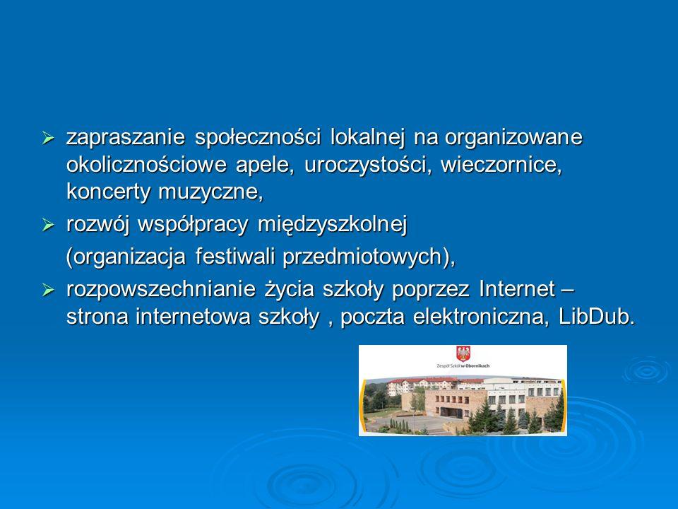  zapraszanie społeczności lokalnej na organizowane okolicznościowe apele, uroczystości, wieczornice, koncerty muzyczne,  rozwój współpracy międzyszkolnej (organizacja festiwali przedmiotowych), (organizacja festiwali przedmiotowych),  rozpowszechnianie życia szkoły poprzez Internet – strona internetowa szkoły, poczta elektroniczna, LibDub.