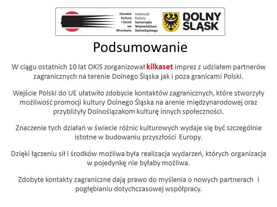 Podsumowanie W ciągu ostatnich 10 lat OKiS zorganizował kilkaset imprez z udziałem partnerów zagranicznych na terenie Dolnego Śląska jak i poza granic