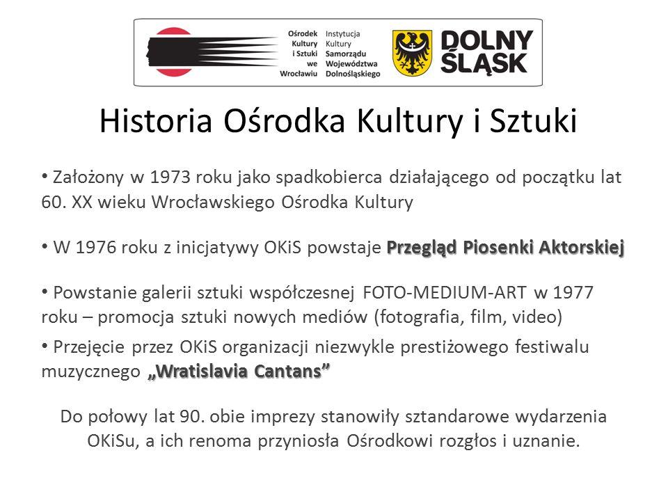 Historia Ośrodka Kultury i Sztuki Założony w 1973 roku jako spadkobierca działającego od początku lat 60. XX wieku Wrocławskiego Ośrodka Kultury Przeg