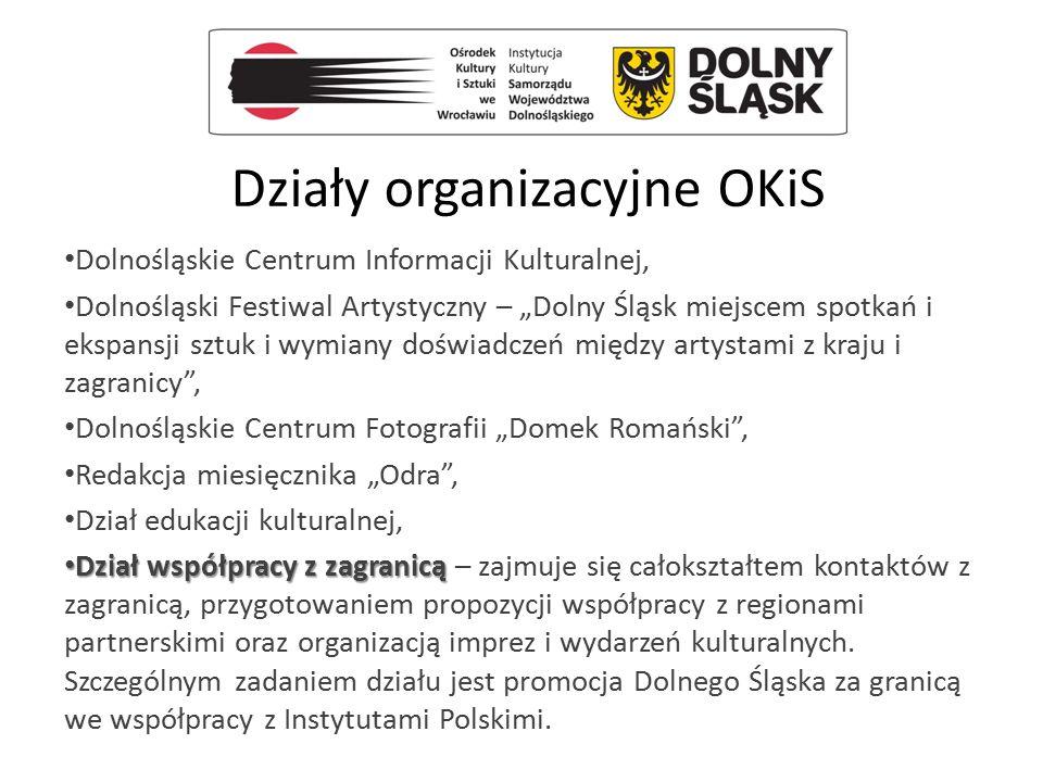 """Działy organizacyjne OKiS Dolnośląskie Centrum Informacji Kulturalnej, Dolnośląski Festiwal Artystyczny – """"Dolny Śląsk miejscem spotkań i ekspansji sz"""