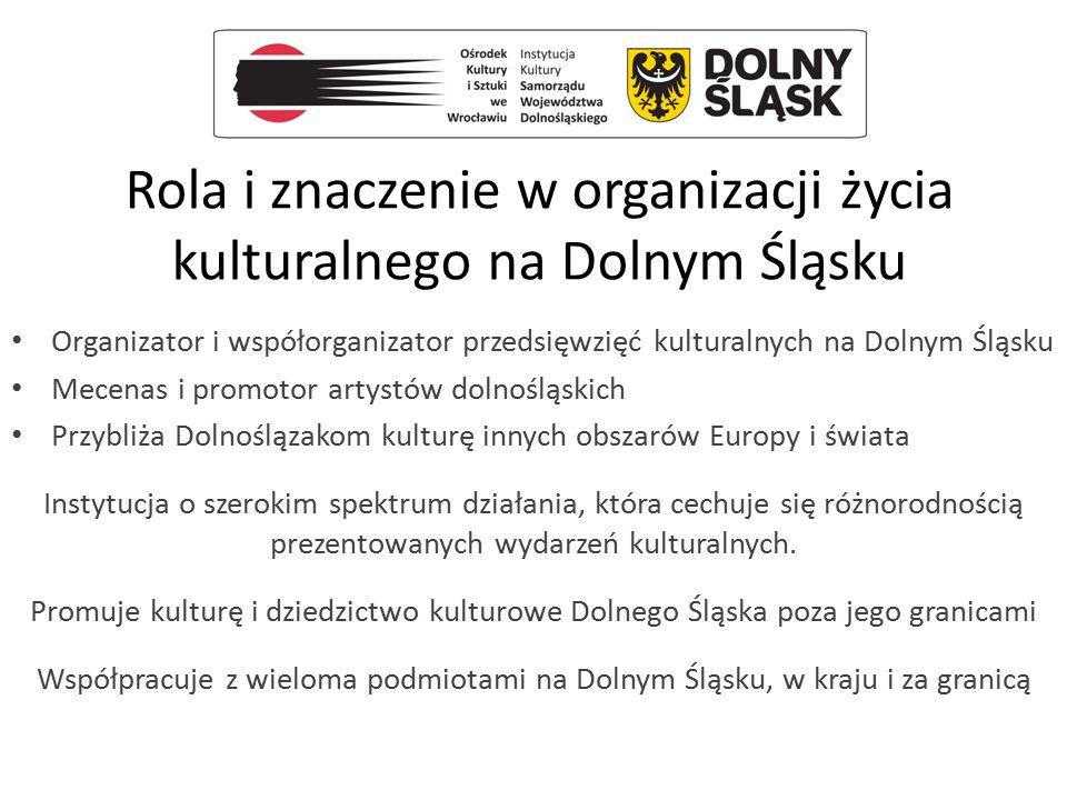 Rola i znaczenie w organizacji życia kulturalnego na Dolnym Śląsku Organizator i współorganizator przedsięwzięć kulturalnych na Dolnym Śląsku Mecenas