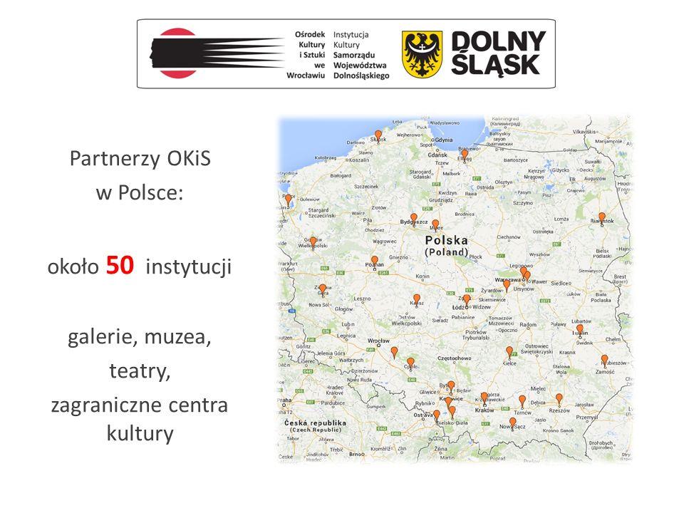 Partnerzy OKiS w Europie i poza nią – około 80 instytucji galerie, muzea, teatry, festiwale, instytuty polskie, ambasady, konsulaty
